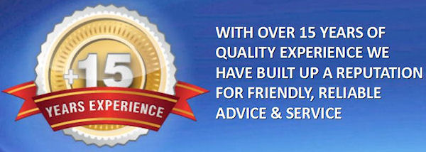 With over 15 years of quality experience we have built up a reputation for friendly, reliable advice and service