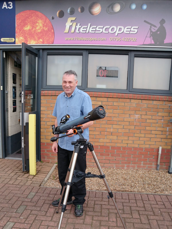 Luigi with the new Celestron Inspire series at our store in Sittingbourne